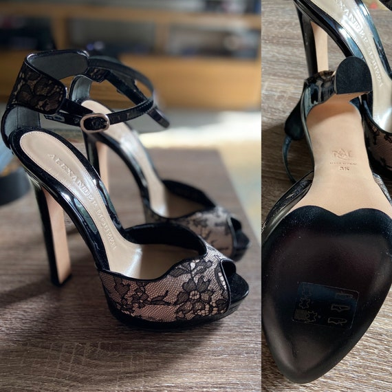 Alexander McQueen Black Lace Peep Toe Heels with Ankle Strap Size 35 (US 5) Upcycled with Collection of Vintage Shoe Clips!