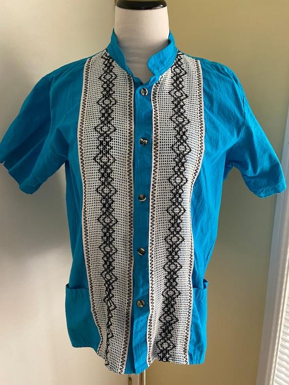 Cute Blue and White Unisex Guayebera Shirt with Pockets