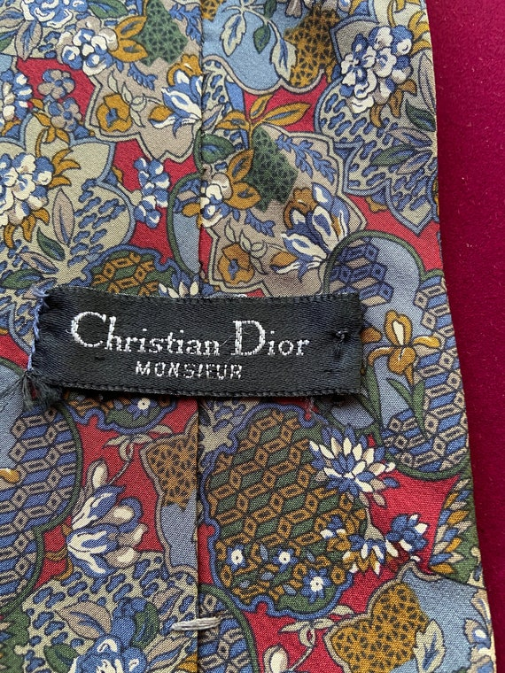 Vintage 1980s 100% Silk Monsieur Dior Tie in Floral Pattern
