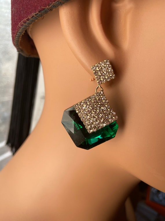 Beautiful Diamante and Green Glass Faux Emerald Kirks Folly Earrings