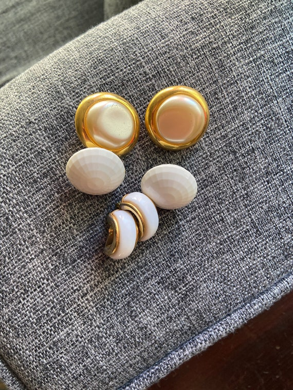 Lot of 3 Pretty 1980s Clip On Earrings in White, Gold, and Pearl Tones One Pair is Monet