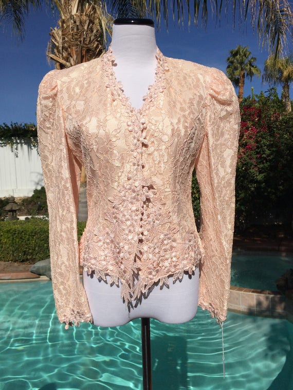 Beautiful Lace Jacket by Cachet by Bari Protas with Pearl Buttons and Scalloped Hem,Size 9/10,Vintage 80's.