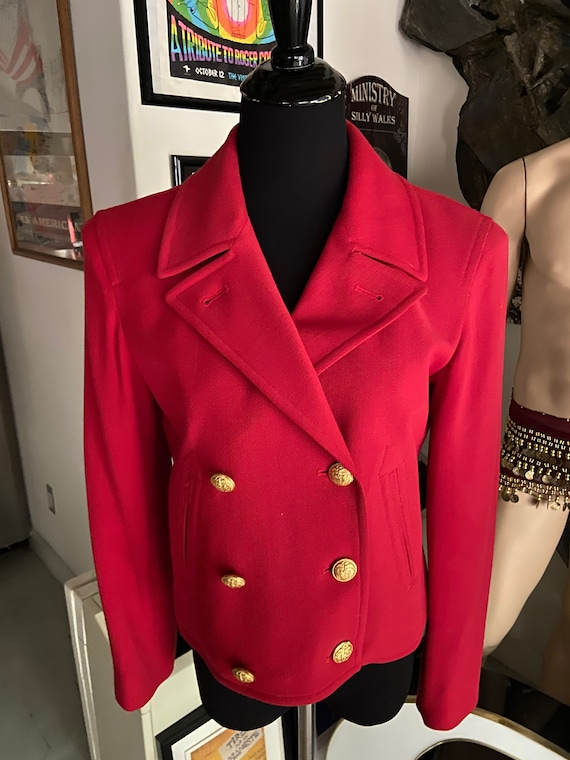 Cute Bright Red Ralph Lauren 1990s Red Blazer with Gold Buttons