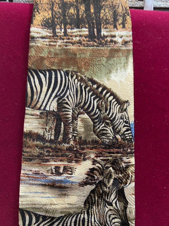 Beautiful Silk Tie with Zebra Motif from the Endangered Animals Society