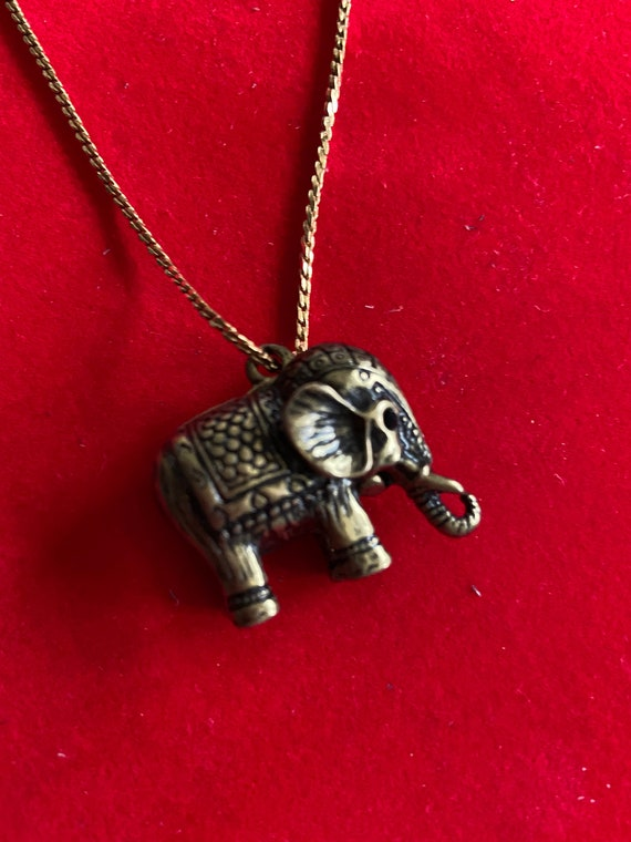 Beautiful Gold Plated Monet Chain and Bronze Toned Elephant Pendant