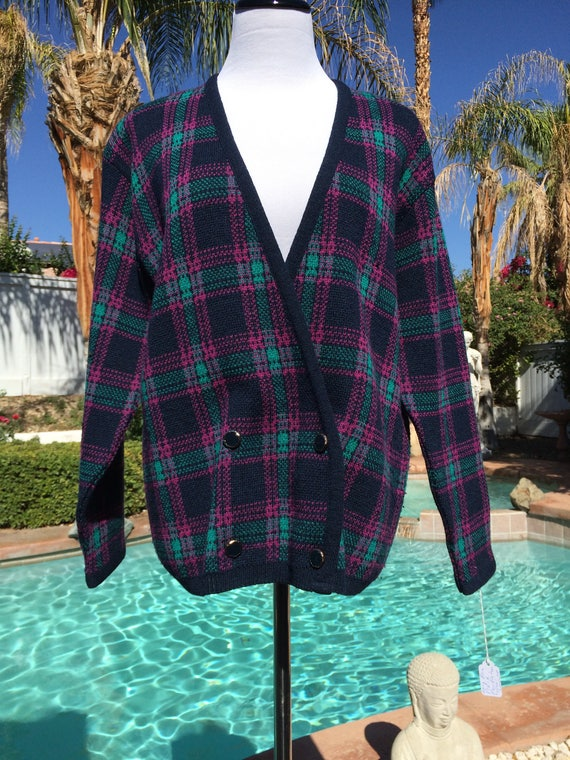 Pendleton 100% Virgin Wool Vintage Indigo,Teal and Fuchsia Tartan Plaid Cardigan,Size Medium.