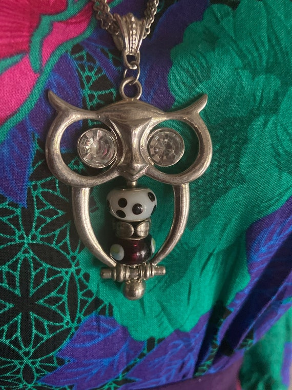 Vintage 1980s Metal and Glass Bead Owl Pendant Double Strand Necklace