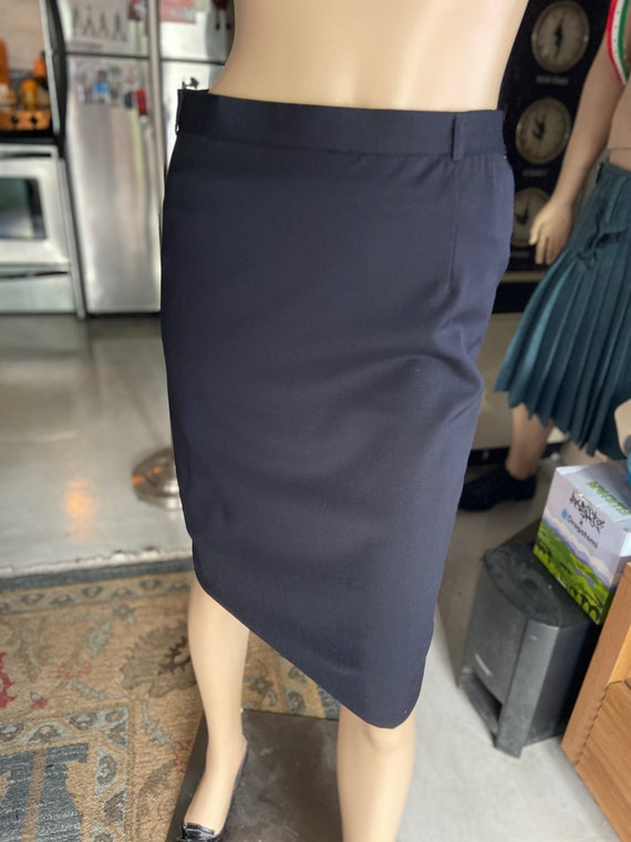 Vintage 1990s  Escada Virgin Wool Black  Pencil Skirt
