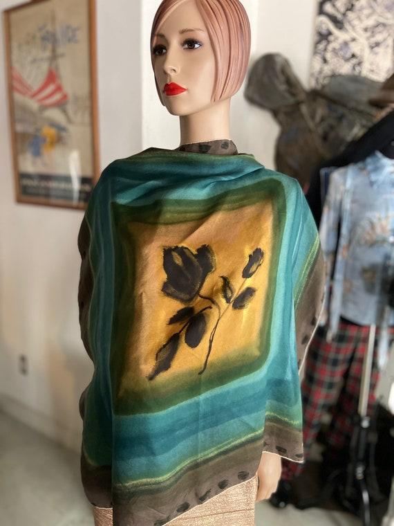 Gorgeous Jean Desses 1950s Rose Print Silk Scarf  Jean Desses