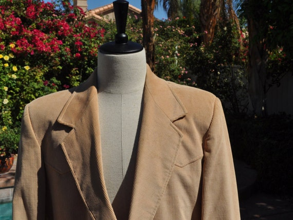 Vintage 1970s Pioneer Wear Brand Made in the USA Western Honey Colored Corduroy Blazer Sz 44L
