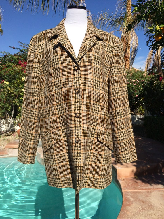 Emanuel Ungaro Brown and Gold Plaid Jacket,Size 16.