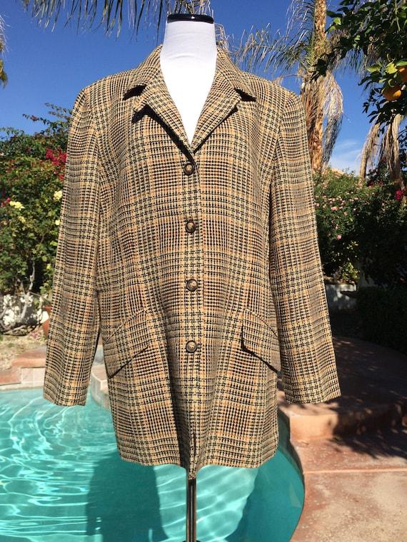 Emanuel Ungaro Brown and Gold Plaid Jacket,Size 16.