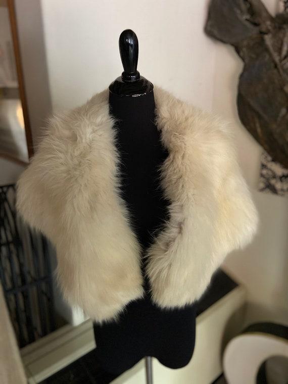 Beautiful Creamy White Fox Fur Shrug Wrap from Adr