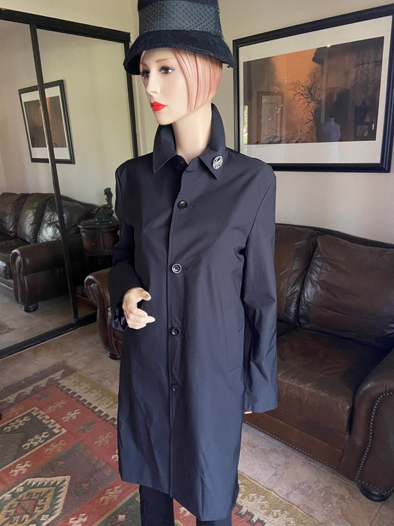 Lovely Black Trench Raincoat from Banana Republic Upcycled with 1980s Bird Brooch