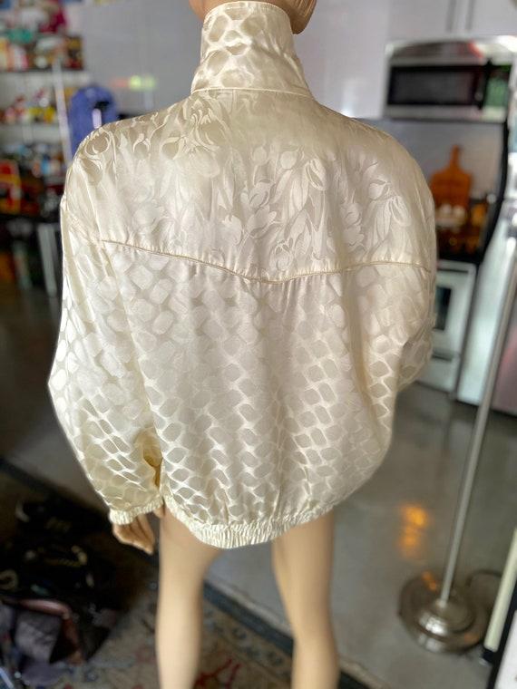 Vintage 1990s Cream Colored Silk Bomber bu FUDA I… - image 5