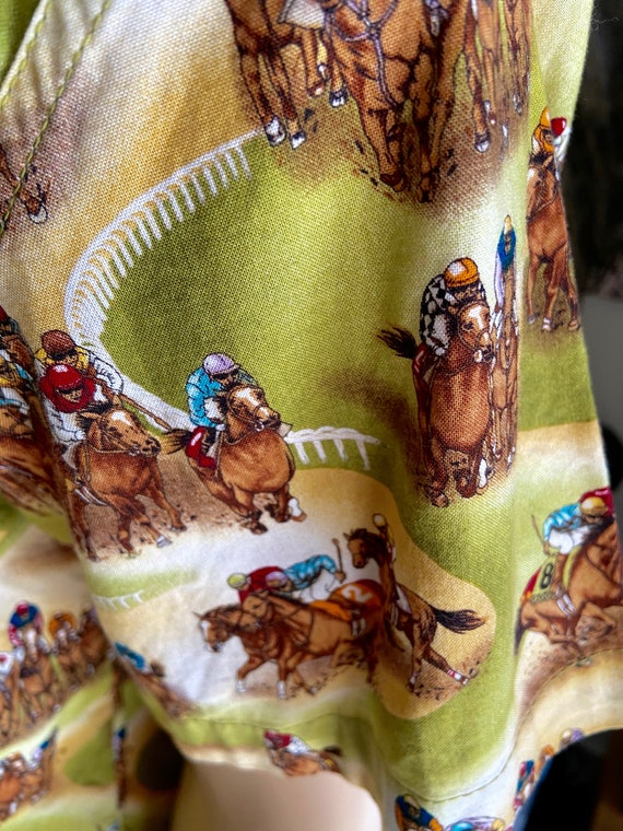 Cute Men's Racehorse Motif Camp Shirt