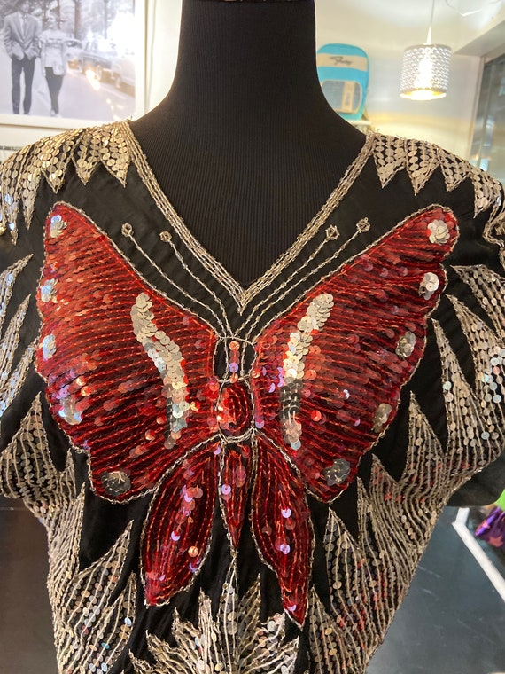 Cute Vintage 1980s Silk Sequined Butterfly Blouse