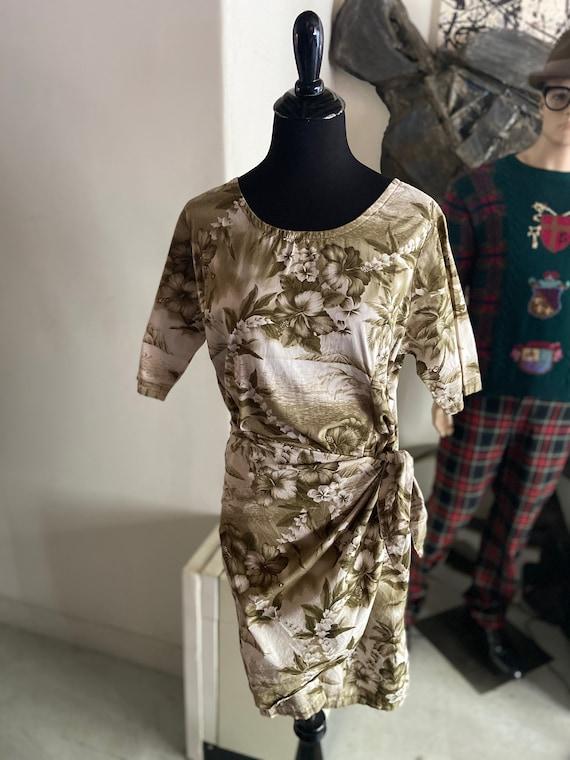 Cute Handmade Cotton Hawaiian Wrap Dress with Flower and Dolphin Motif