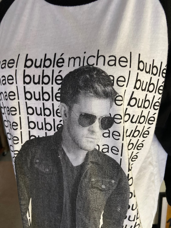 Michael Buble 3/4 Sleeve Raglan Black and White Tour Shirt Sz M