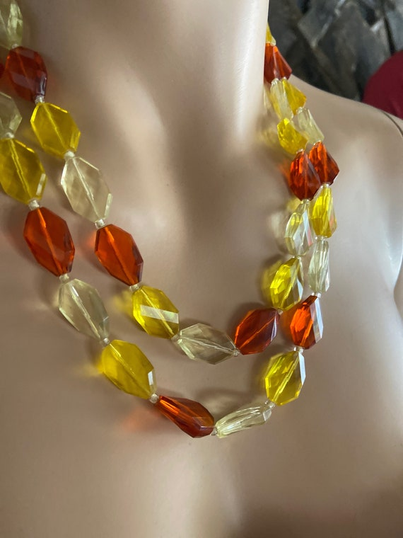 Gorgeous Multi-Colored Lucite Vintage 1960s Necklace Made in West Germany
