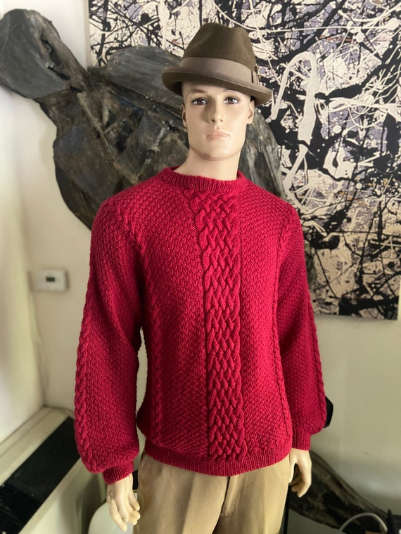 Beautiful Hand Knitted Red Men's Cable Knit Sweater Size 48