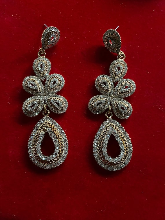 Lovely 1990s Kirks Folly Diamante Cluster Chandelier Drop Earrings