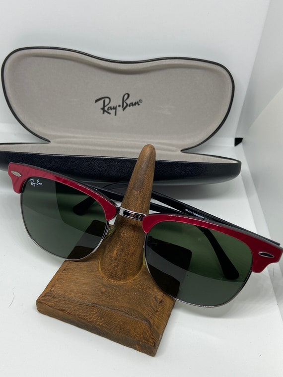 Awesome Ray Ban Raspberry Trimmed   Clubmaster Sunglasses with Ray Ban Hard Case