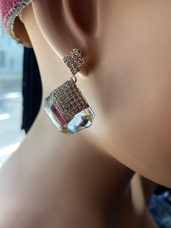 Gorgeous 1990s Kirks Folly Crystal and Diamante Dangle Earrings