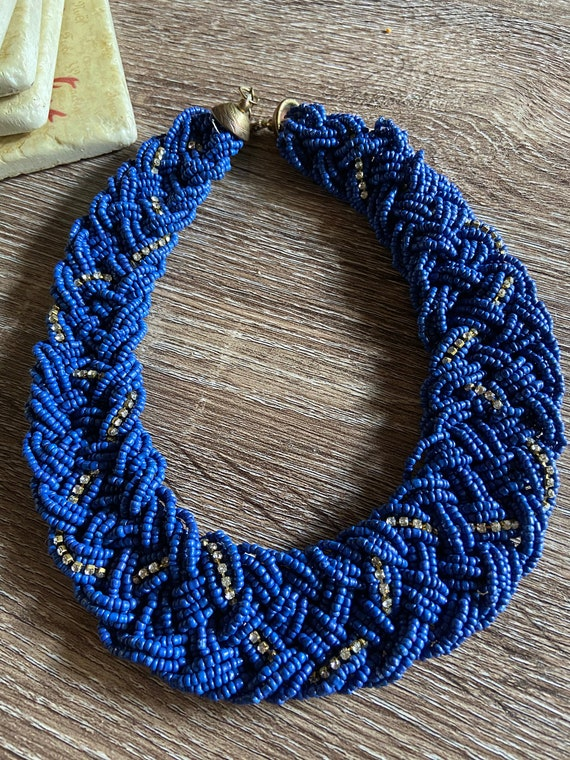 Gorgeous 1970s Blue Afghan Beaded Thick Choker Necklace with Diamante Accents