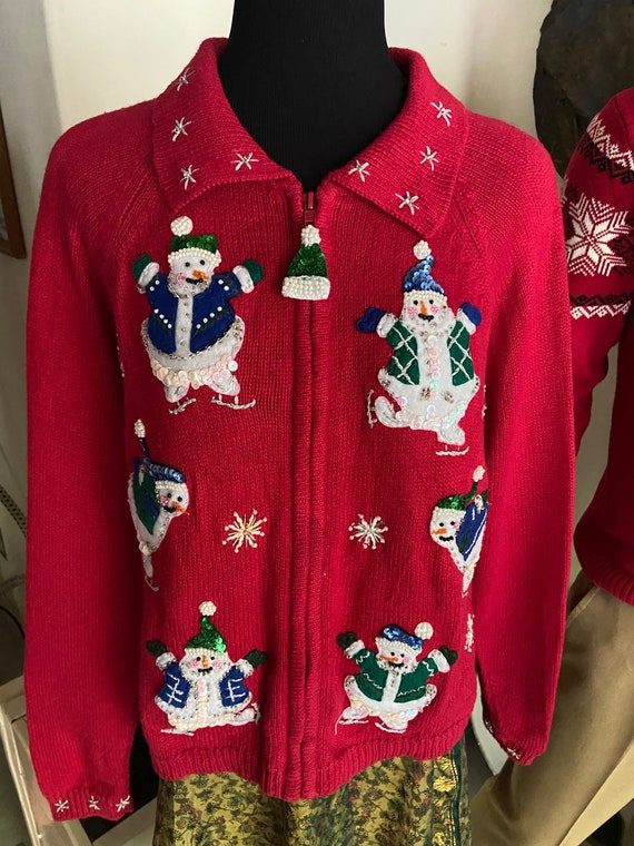 Super-Cute Red Christmas Cardigan Sweater with Beaded and Sequined Snowman Motif Size Petite Medium
