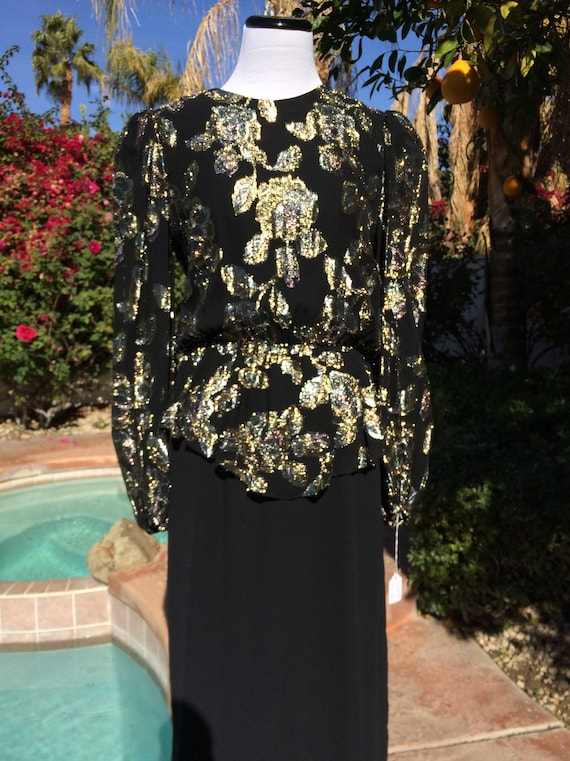 Black and Gold Metallic 80's Disco/Party Dress,Size 5/6.