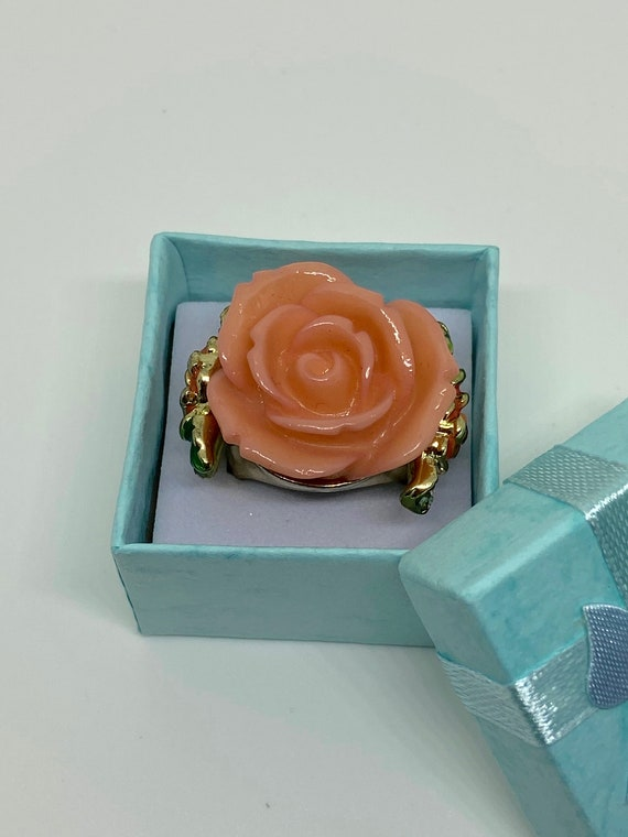 Lovely Pink Rose Statement Cocktail Ring with Rhinestone Setting Size 7