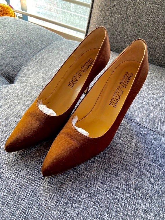 Vintage 1980s Classic Sparkling Brown Satin Charles Jourdan Pumps Size 6.5
