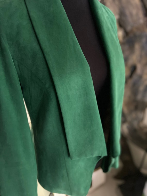 Lovely Anthropologie Cartonnier Emerald Green Soft Tencel Women's Blazer