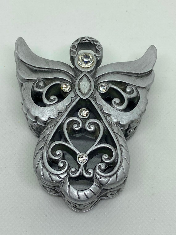 Lovely Silver Resin Angel Trinket Box with Diamante Accents