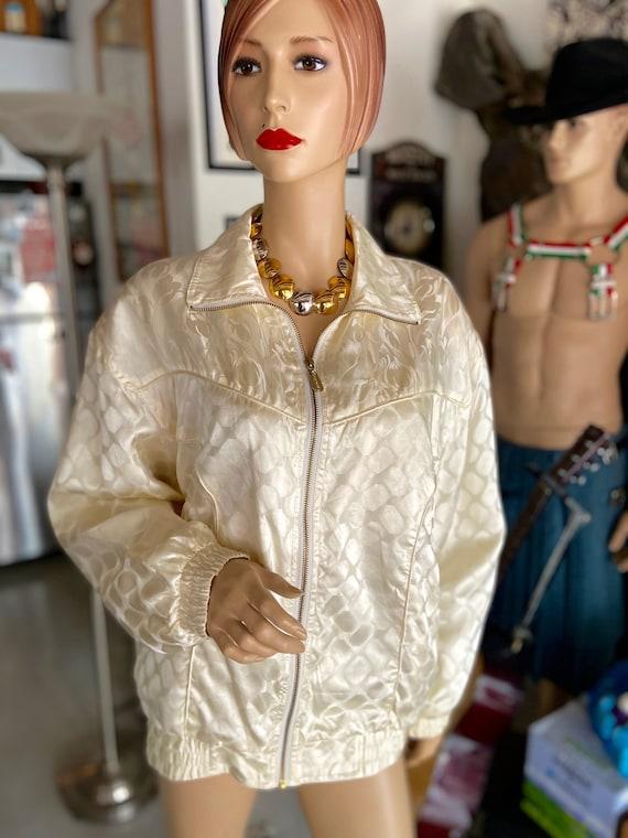 Vintage 1990s Cream Colored Silk Bomber bu FUDA I… - image 1