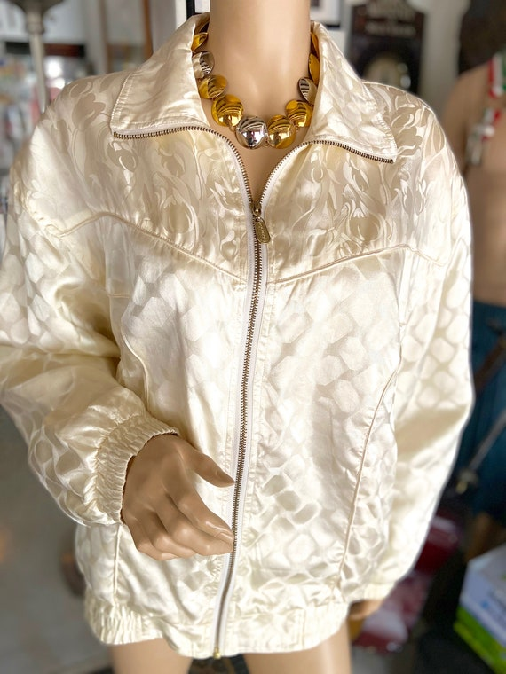 Vintage 1990s Cream Colored Silk Bomber bu FUDA I… - image 3