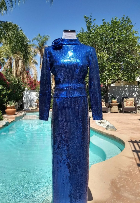 Mignon 80's Sequined Maxi Skirt and Top Set,Cobalt Blue,Evening Wear, Size Small