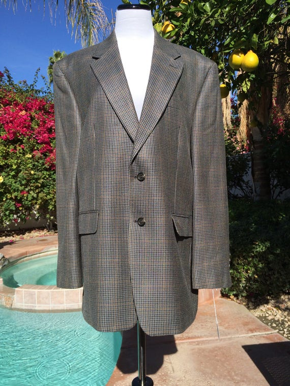 Chaps Gray Plaid Silk Sports coat,Size 42R 90's.