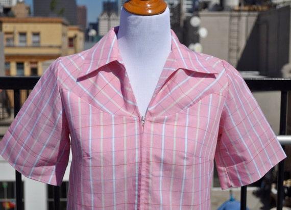 Vintage 1960s Pink Sears Zip & Dash Perma-Smooth House Dress Sz 10 (Modern 8)