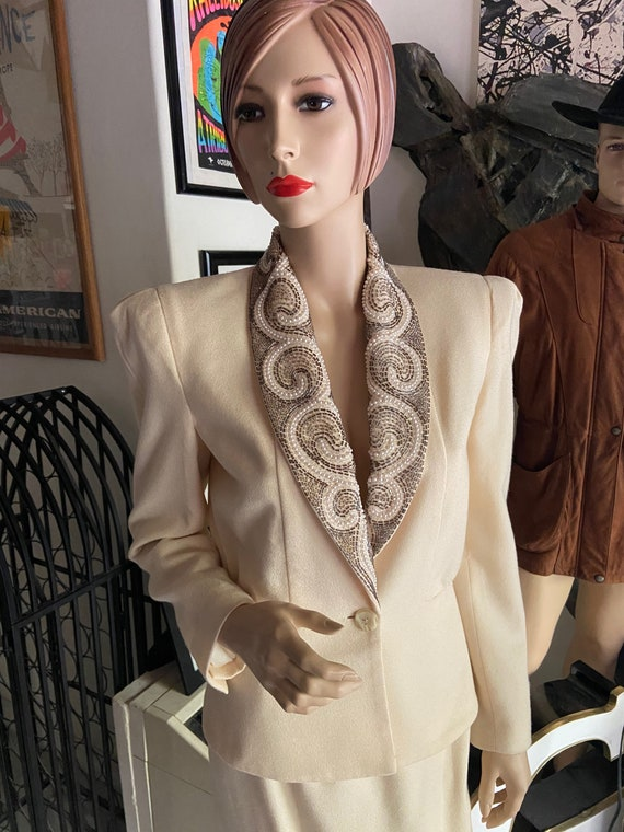 Magnificent Nolan Miller Vintage 1980s Cream Two Piece Suit with Beaded Collar by Nolan Miller Dynasty Collection