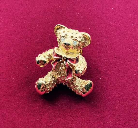Adorable Christmas Teddy Bear Brooch Pin