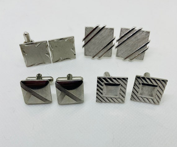 Lot of 4 Silver Toned Vintage 1960s Cufflinks Cuff Links