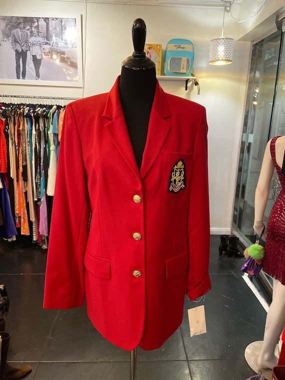 Vintage 1990s Red Liz Claiborne Captain's Jacket