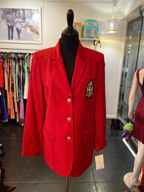 Vintage 1990s Red Liz Claiborne Captain's Jacket