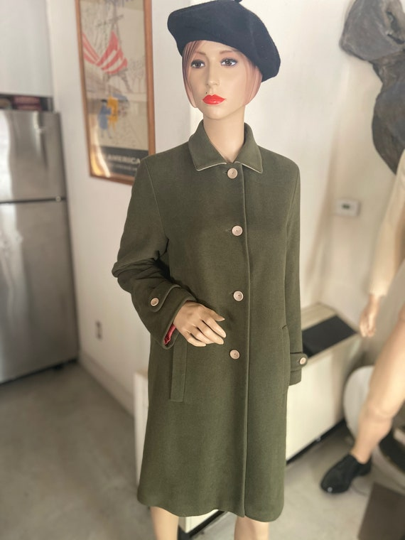 Gorgeous 1990s Cashmere Luciano Barbera Women's Green Overcoat Made in Italy Sz 8