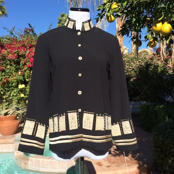 Drapers & Damon's 90's Black Sweater/Jacket with Creme and Gold accents,Size PXS.