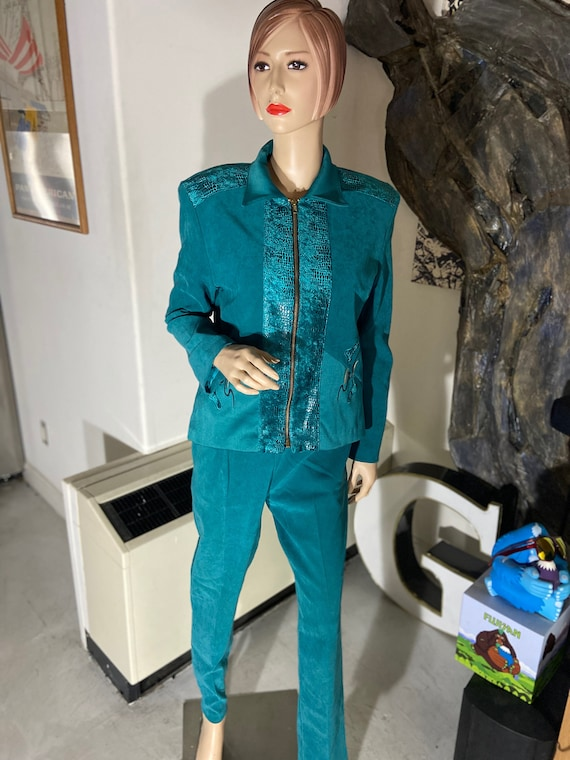 Vintage 1980s Green 3-Piece Women's Leisure Suit Size Small Made in the USA by Jordana