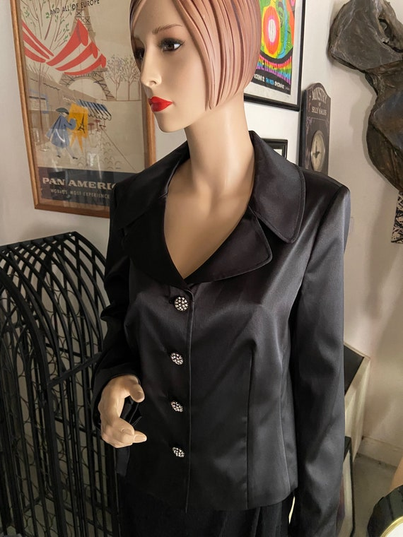 Gorgeous 1980s Deadstock with Tags Black Satin Studio by Liz Claiborne Blazer