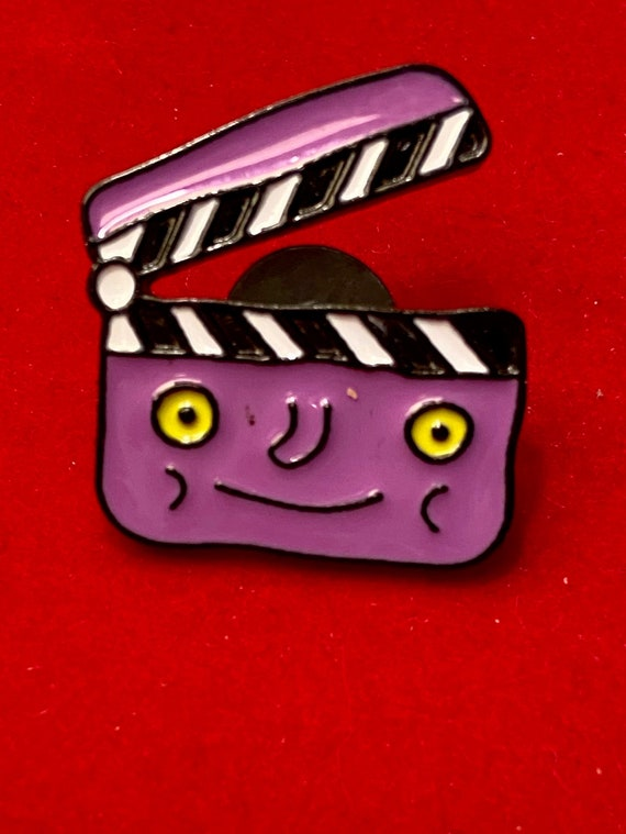 Cute Movie Clap Board with Face Purple Enamel Pin Brooch Badge